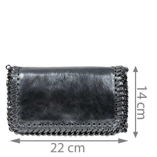 Plic piele gri metalic tip gentuta GF1583