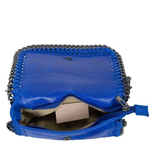 Plic piele albastru electric tip gentuta GF1587