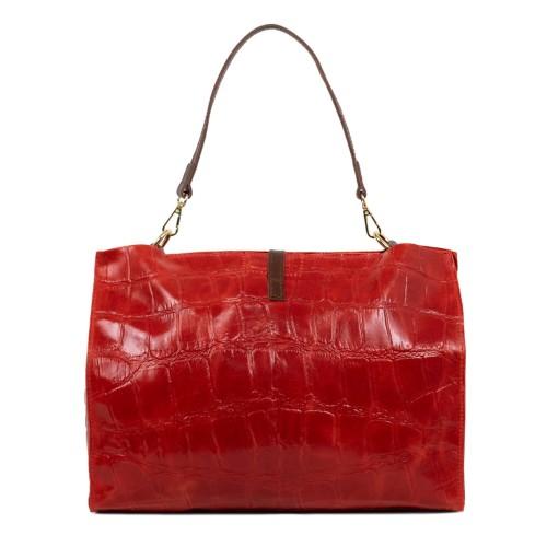 Geanta piele rosie cu imprimeu GF1743