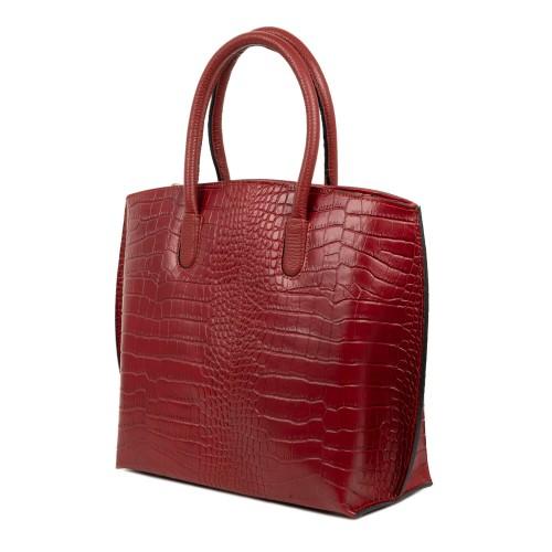Geanta piele imprimeu crocodil rosu inchis GF1788