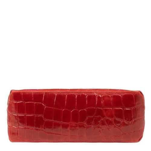 Geanta piele imprimeu crocodil/grena GF1833