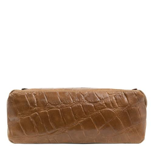 Geanta piele imprimeu crocodil/taupe GF1834