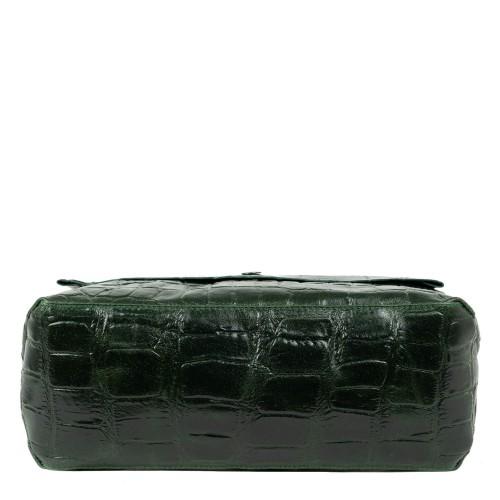 Geanta piele imprimeu crocodil/kaki GF1835
