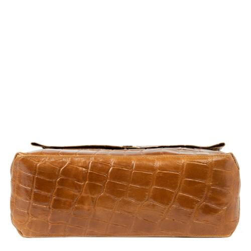 Geanta piele imprimeu crocodil/maro GF1836