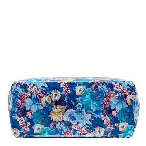 Geanta piele naturala imprimeu flori albastre GF1875