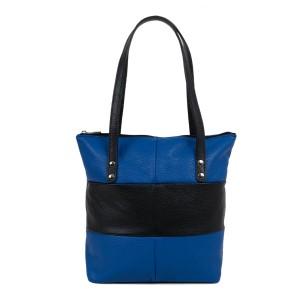 Geanta dama piele albastra/negru GF1880