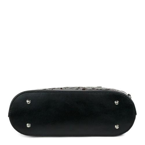 Geanta piele neagra imprimeu GF915