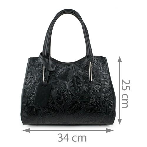 Geanta piele neagra imprimeu gravat GF956
