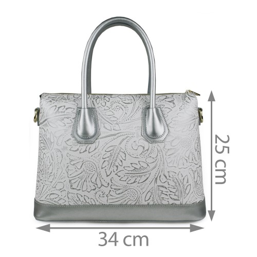 Geanta piele silver imprimeu GF961