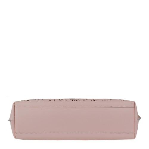 Geanta piele roz pal imprimeu perforat GF992 Genti Dama