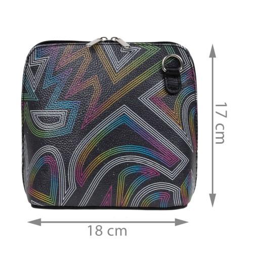 Gentuta piele neagra /imprimeu multicolor GF2458