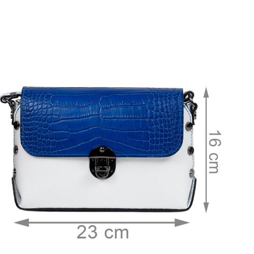 Gentuta piele alba/bleumarin cu imprimeu crocodil GF2469