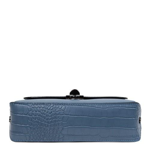 Gentuta piele albastru prafuit cu imprimeu crocodil GF2475