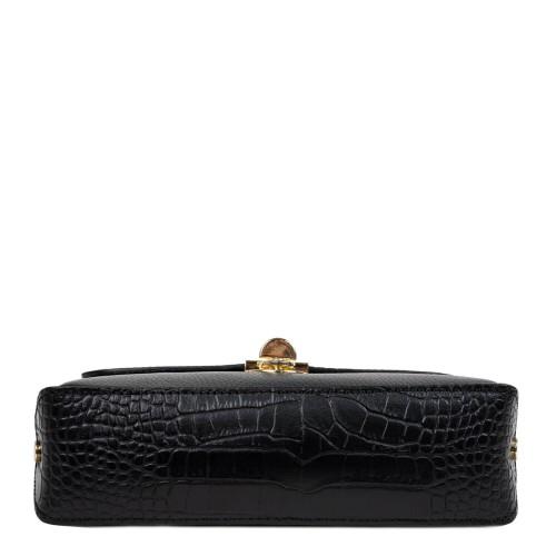Gentuta piele neagra cu imprimeu crocodil GF2478