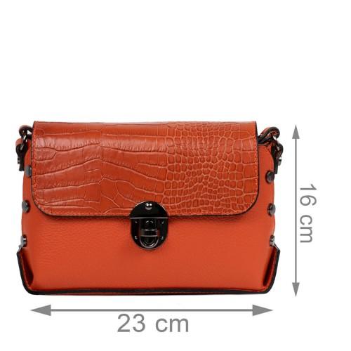 Gentuta piele oranj cu imprimeu crocodil GF2479