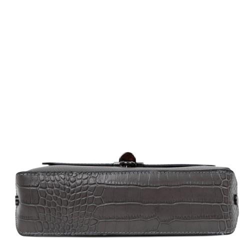 Gentuta piele gri inchis cu imprimeu crocodil GF2481