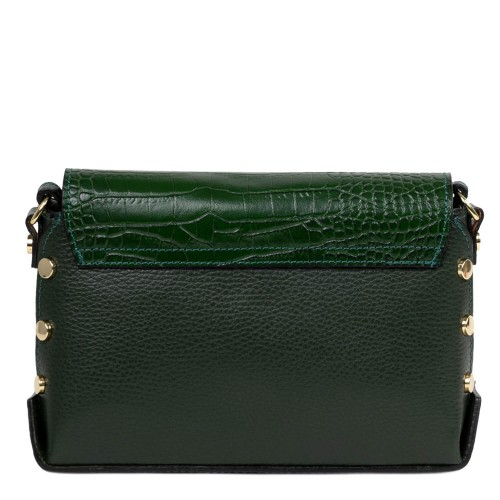 Gentuta piele verde inchis cu imprimeu crocodil GF2483
