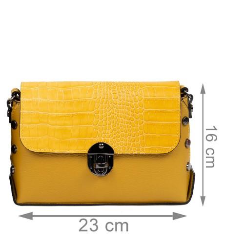 Gentuta piele galben mustar cu imprimeu crocodil GF2486