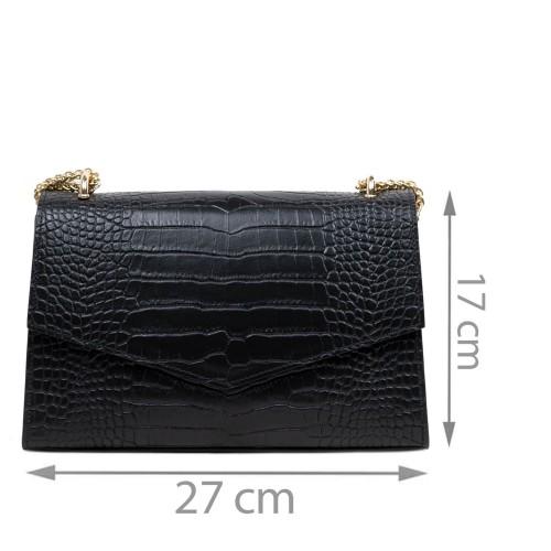 Gentuta piele neagra imprimeu crocodil GF2850