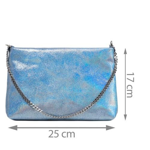 Gentuta piele tip plic albastru deschis sidefata GF2922