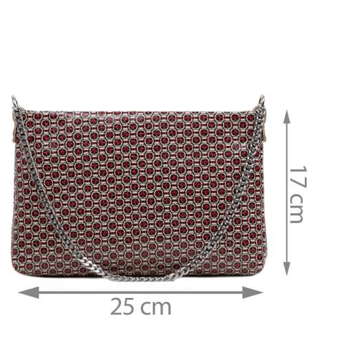 Gentuta piele tip plic rosu cu imprimeu GF2923