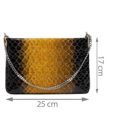 Gentuta piele tip plic galben/negru GF2928