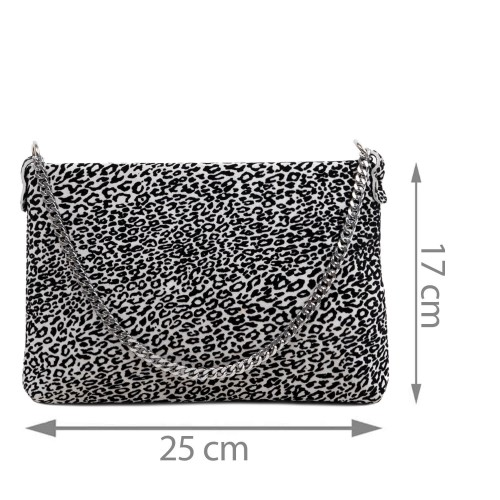 Gentuta piele tip plic negru/alb/ animal print GF2934