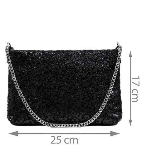 Gentuta piele tip plic neagra animal print GF2940