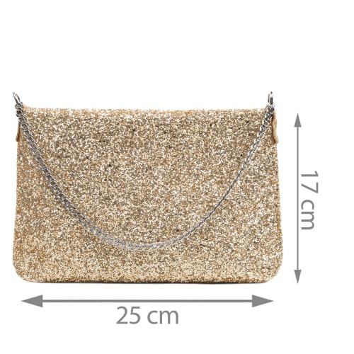Gentuta piele tip plic cu glitter auriu GF3081
