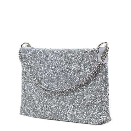 Gentuta piele tip plic cu glitter argintiu GF3082