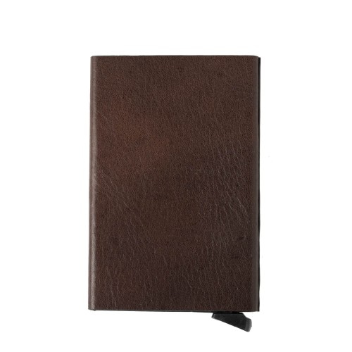 Port-card piele maro inchis PT071