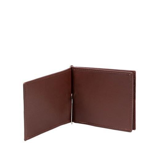 Port-card din piele maro roscat PT091
