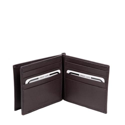 Port-card din piele maro inchis PT094