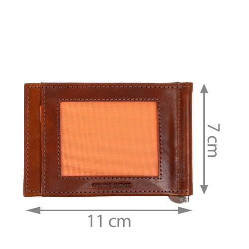 Port-card din piele maro PT097