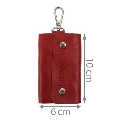Port-chei din piele naturala rosu PC001