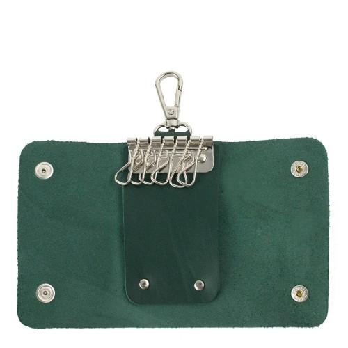 Port-chei din piele naturala verde inchis PC008