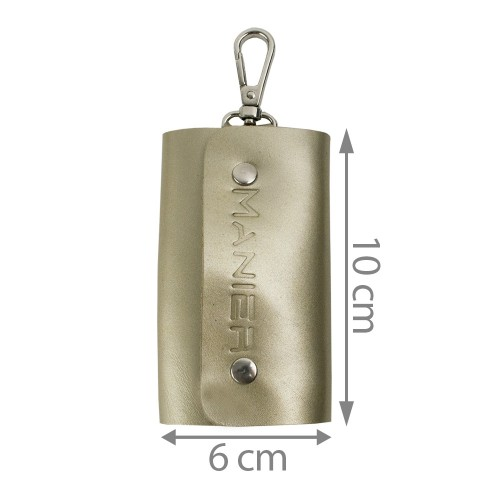 Port-chei din piele naturala gold PC009