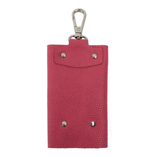 Port-chei din piele naturala roz PC010