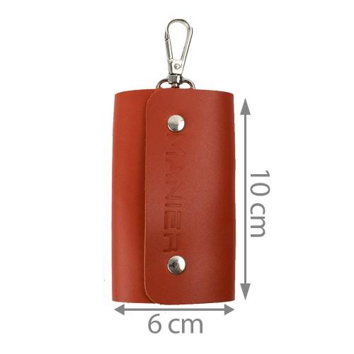 Port-chei din piele naturala oranj PC011