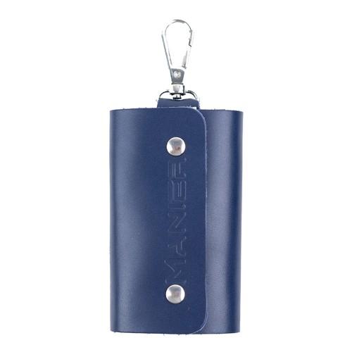 Port-chei piele albastru inchis PC016
