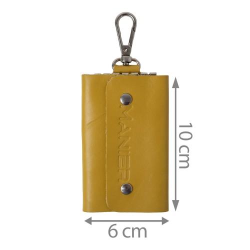 Port-chei din piele galben mustar PC023