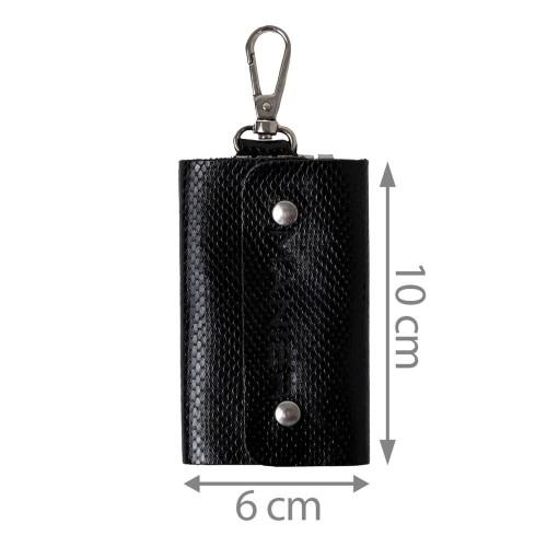 Port-chei piele imprimeu sarpe negru PC050