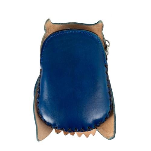 Port-monede piele Bufnita albastra PM056