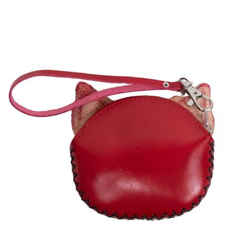 Port-monede piele pisicuta rosie PM059