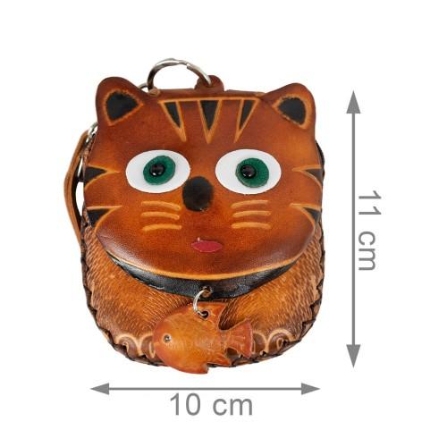 Port-monede piele pisicuta  maro PM061