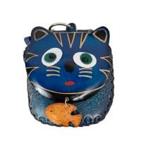 Port-monede piele pisicuta albastra PM062