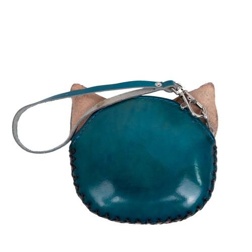 Port-monede piele pisicuta turcoaz PM062