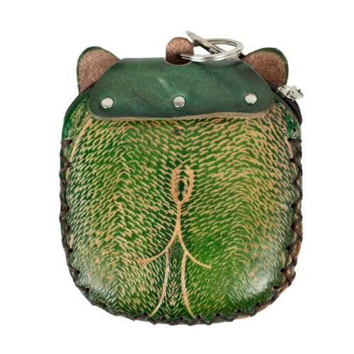 Port-monede piele pisicuta verde PM063