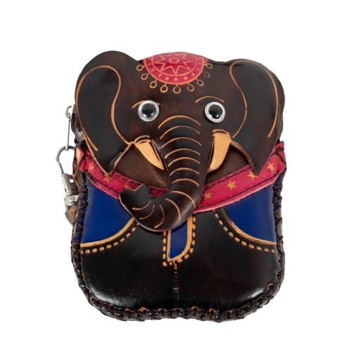 Port-monede piele elefant maro inchis PM066