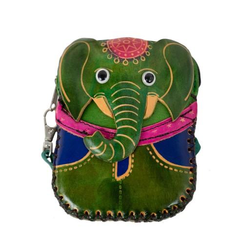 Port-monede piele elefant verde PM069